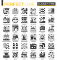 summer time vacation black mini concept icons and vector image vector image