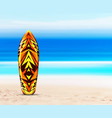 surfboard on beach against background of vector image
