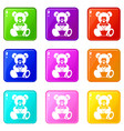 teddy bear holding a heart icons 9 set vector image vector image