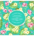 Tropical flowers label vector image vector image