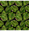 tropical palm leaves seamless pattern watercolor vector image vector image
