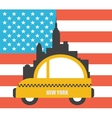 USA Colour Flag New York City Skyline vector image vector image