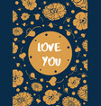 vintage floral card with text love you vector image vector image