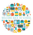 welcome back to school background with study theme vector image