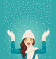 woman in snowfall vector image vector image