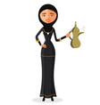 young arab woman holding an arabic coffee pot vector image vector image