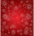 Christmas card with white snowflakes on red vector image