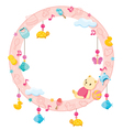Baby Icons Objects On Round Frame vector image