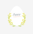Happy Easter greeting card with flowers eggs and vector image