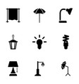 9 lamp icons vector image vector image