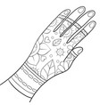 adult coloring bookpage a cute hand