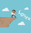 african businessman dumps message loser down the vector image vector image