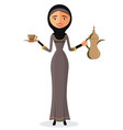 arab woman holding an arabic coffee pot isolated vector image vector image