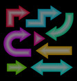 arrow set neon effect vector image vector image