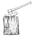 artistic drawing of medieval executioner axe or vector image vector image