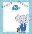 baby girl shower card cute elephant with teddy vector image vector image