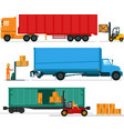 big lorries loading stuff at warehouse vector image
