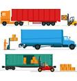 big lorries loading stuff at warehouse vector image