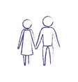 blurred blue silhouette of pictogram couple vector image vector image