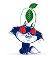 cartoon cat with cherry eye vector image vector image