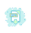cartoon colored mpg file icon in comic style mpg vector image vector image