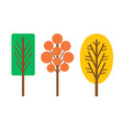 cartoon style abstract trees isolated icons vector image