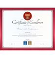 Certificate of excellence template with red border vector image vector image