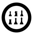 chess pieces icon black color in circle vector image