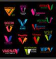 corporate identity letter v company symbols vector image
