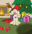 Cute dog in Santa xmas cap vector image