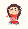 cute sick girl with a thermometer vector image