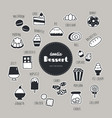 dessert hand drawn doodle icons set vector image