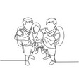 education concept one line drawing group happy vector image