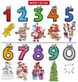 educational cartoon numbers set with christmas vector image vector image