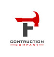 f letter construction logo design vector image vector image
