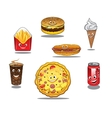 Fast food and takeaway food icons vector image
