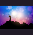 female on a mountain landscape with arms raised vector image vector image