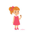 girl feeling unhappy with ice cream drop vector image vector image
