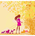 Girl walking with her dog in autumn landscape vector image vector image