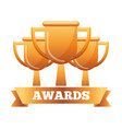 golden trophies success award ribbon vector image