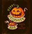 halloween card with two pumpkins vector image vector image
