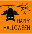 happy halloween hanging on tree branch cute vector image