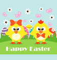 happy holiday easter card funny chickens vector image vector image