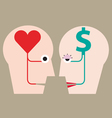 Heart and money in head concept vector image vector image