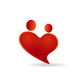 heart couples symbol of care icon vector image vector image