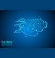 iceland map with nodes linked by lines concept of vector image vector image
