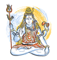 indian god shiva with watercolor splashes vector image