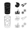 isolated object of texture and frozen symbol set vector image vector image