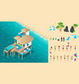 isometry chic bungalow in the maldives vector image