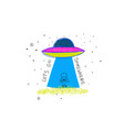 lets go somewhere universe space ufo star card vector image